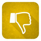 dislike flat icon, gold christmas button, thumb down sign