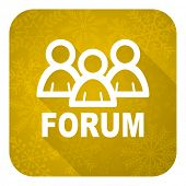 forum flat icon, gold christmas button