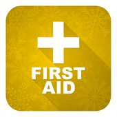 first aid flat icon, gold christmas button