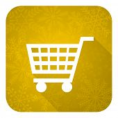 cart flat icon, gold christmas button, shop sign
