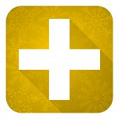 plus flat icon, gold christmas button, cross sign