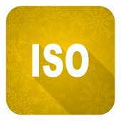 iso flat icon, gold christmas button