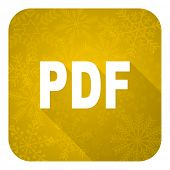 pdf flat icon, gold christmas button