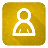 person flat icon, gold christmas button