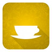 espresso flat icon, gold christmas button, caffe cup sign