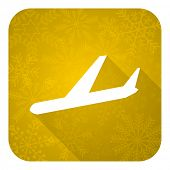 arrivals flat icon, gold christmas button, plane sign