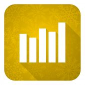 graph flat icon, gold christmas button, bar graph sign