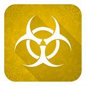 biohazard flat icon, gold christmas button, virus sign