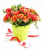 beautiful bouquet of roses with a festive ribbon for gift
