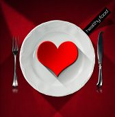Healthy Food - Red Heart On The Plate