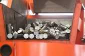 stock photo of raw materials  - Round billet of metal raw materials for further processing  - JPG