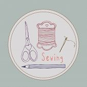 Sewing tools hand drawn style  illustration