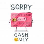cute cartoon hand drawn credit card character.