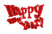 Happy new year 3d text on white background