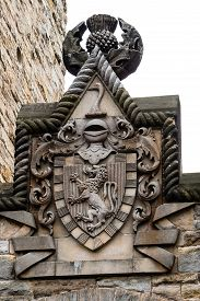 stock photo of scottish thistle  - Detail of William Wallace coat of arms at The National Wallace Monument in Stirling Scotland - JPG