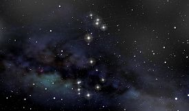 stock photo of scorpion  - A deep space backgroud with the constellation of the Scorpion in the foreground in the night sky - JPG