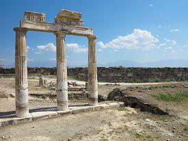 foto of artemis  - Columns and ruins of ancient Artemis temple in Hierapolis Turkey - JPG