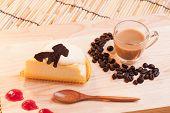 pic of custard  - cheese custard cake and cup of coffee on wood - JPG