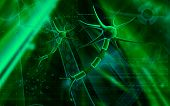 pic of neuron  - Digital illustration of  neuron  in colour  background - JPG