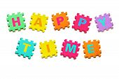 stock photo of time-piece  - colorful jigsaws arranged as a word happy time - JPG