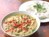image of curry chicken  - spicy chicken green curry with rice noodles - JPG
