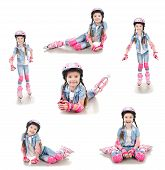 picture of roller-skating  - Collection of photos cute smiling little girl in roller skates and protective gear isolated on a white - JPG