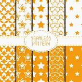 picture of starry  - Set of yellow geometric seamless pattern with stars - JPG