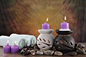 stock photo of ear candle  - spa items ready for client to relax - JPG