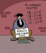 picture of homeless  - Homeless man with a sign and currency list on the wall - JPG