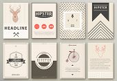 stock photo of brochure  - Set of brochures in hipster style - JPG