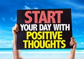 stock photo of positive thought  - Start Your Day with Positive Thoughts card with beach background - JPG
