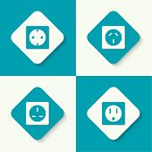 picture of electric socket  - Set of vector icons electrical sockets of different standards - JPG