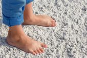 image of children beach  - Close up of child feet on a tropical sandy beach - JPG