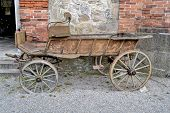stock photo of yoke  - U barn stood an old car, which was originally for horses yoked.
