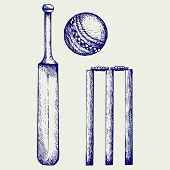 pic of cricket ball  - Set equipment for cricket - JPG