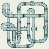 stock photo of maze  - Maze of metal pipes - JPG