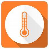 picture of temperature  - thermometer orange flat icon temperature sign  - JPG