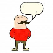 stock photo of mustache  - cartoon bald man with mustache with speech bubble - JPG