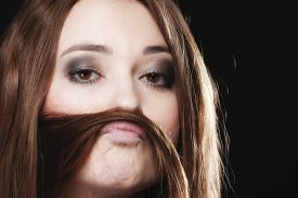stock photo of moustache  - Sex equality and feminism concept  - JPG