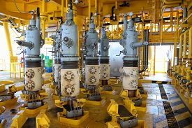 stock photo of production  - Oil and gas production slot on the platform - JPG
