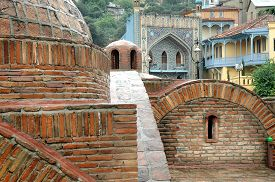 stock photo of mosk  - Architecture of the Old Town of Tbilisi Georgia in Abanotubani area - JPG