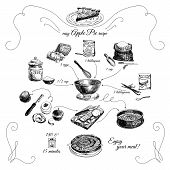 ������, ������: Simple Apple pie recipe Step by step Hand drawn illustration