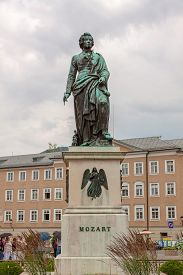 picture of mozart  - The statue of Mozart at Mozart Square in Salzburg Austria - JPG