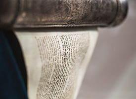 stock photo of torah  - ancient sacred the unwrapped Torah scroll silver - JPG