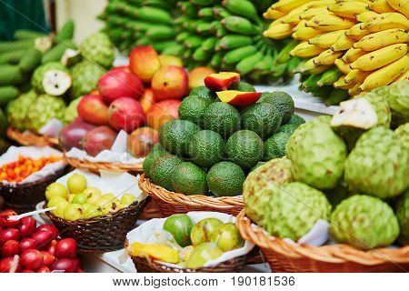poster of Fresh And Ripe Exotic Fruits On Traditional Market At Madeira