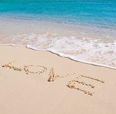 Love written in a sandy beach