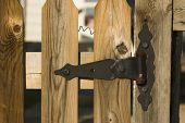 Old Style Hinge On A Fence Gate