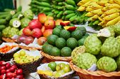 Fresh And Ripe Exotic Fruits On Traditional Market At Madeira poster