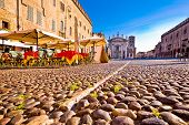 Mantova City Paved Piazza Sordello And Idyllic Cafe View poster
