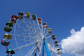 stock photo of ferris-wheel  - Ferris Wheel on sky background and cloud - JPG